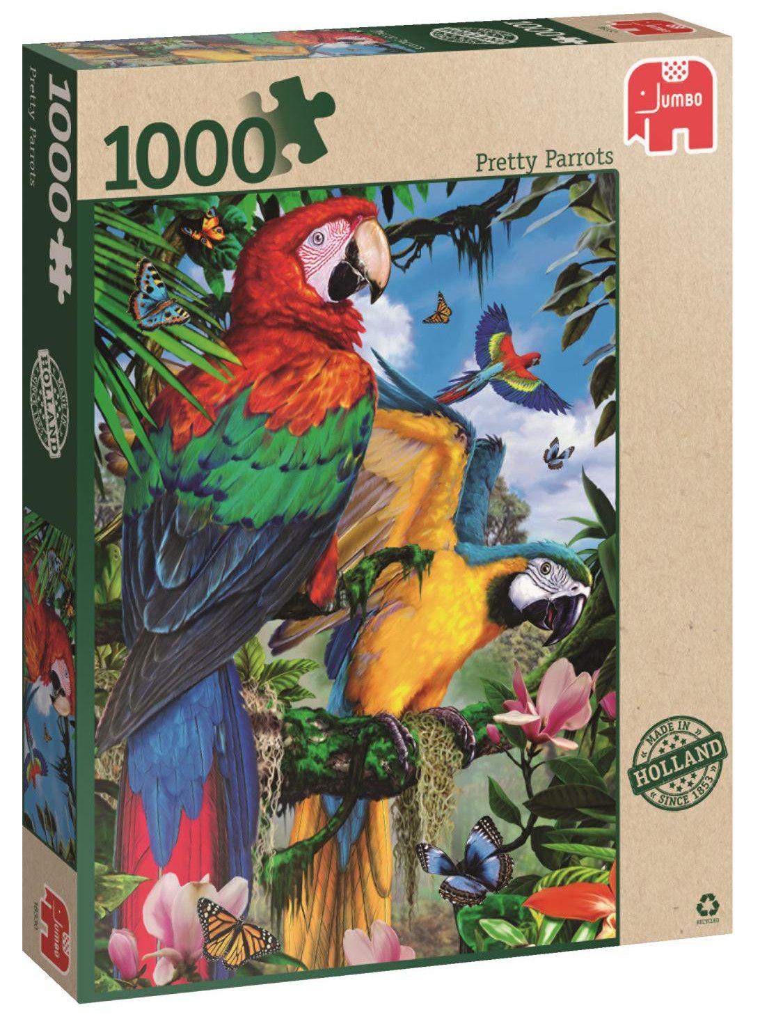 Пъзел Jumbo от 1000 части - Впечатляващи папагали - 1