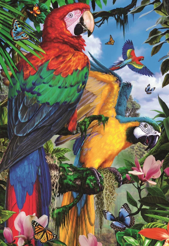 Пъзел Jumbo от 1000 части - Впечатляващи папагали - 2
