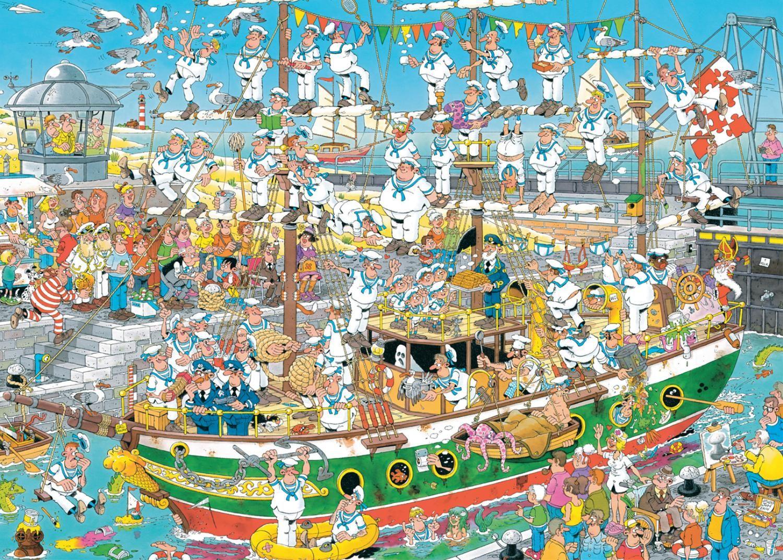 Пъзел Jumbo от 1000 части - Хаос на пристанището, Ян ван Хаастерен - 2