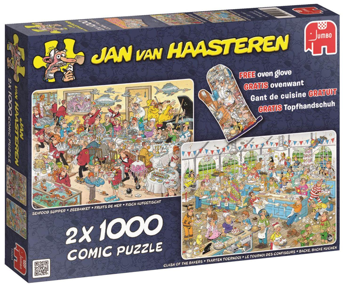 Пъзели Jumbo 2 х 1000 части - Вечеря с морски дарове и Сблъсъкът на хлебарите, Ян ван Хаастерен - 1
