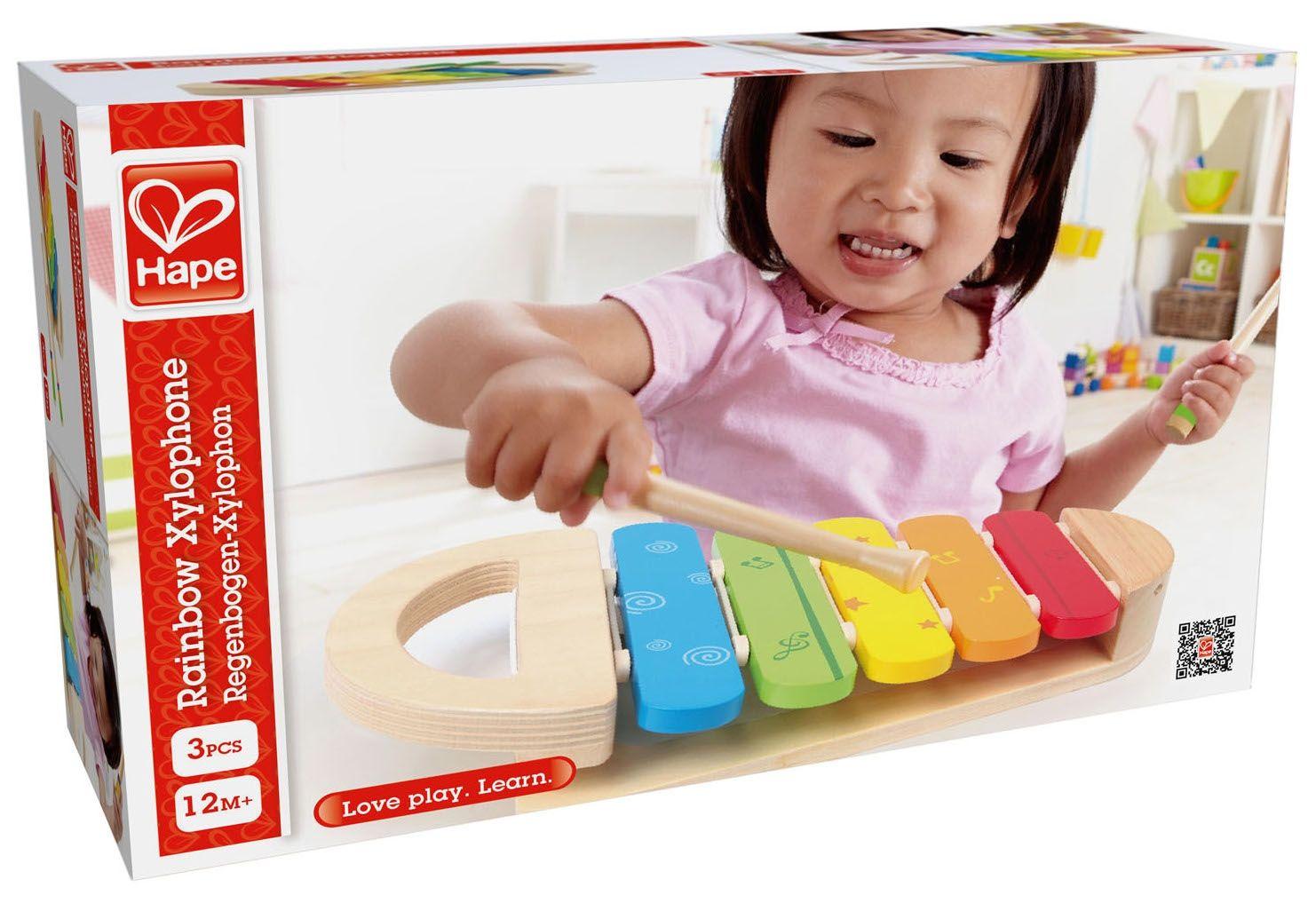 Дървена играчка Hape - Разноцветен ксилофон - 6