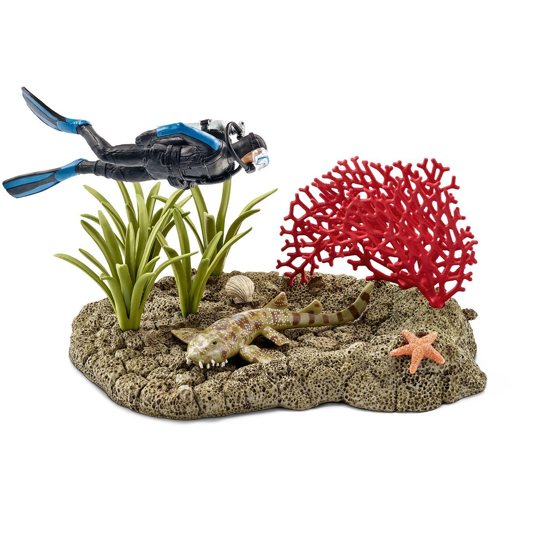 Фигурки Schleich от серията Аксесоари към Диви Животни: Водолаз в кораловия риф - 1