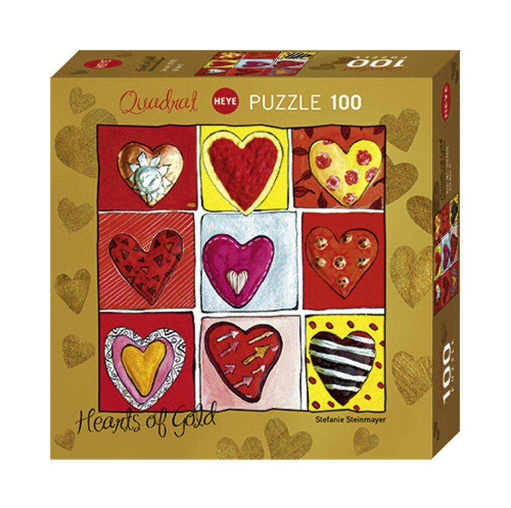 Мини пъзел Heye от 100 части - Hearts of Gold All The 9, Стефани Щайнмайер - 1