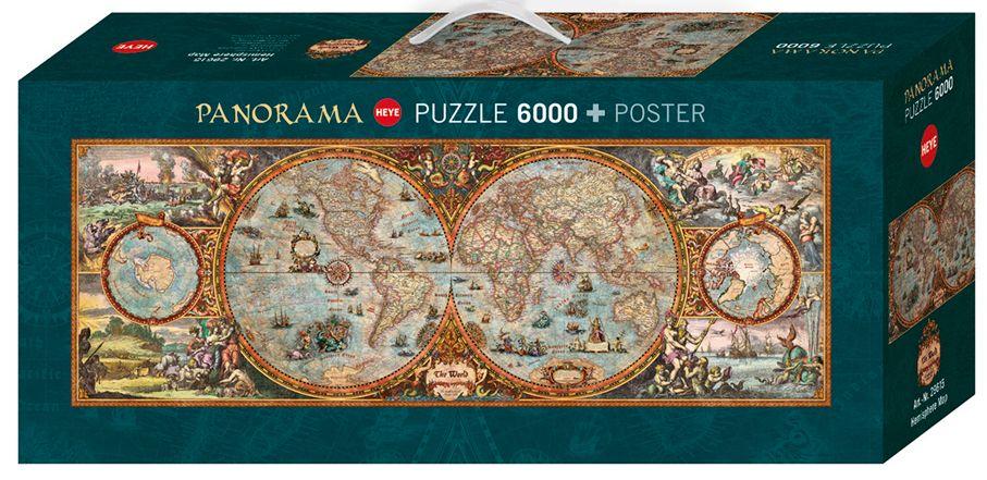 Пъзел Heye от 6000 части - Карта на полукълбата - 1