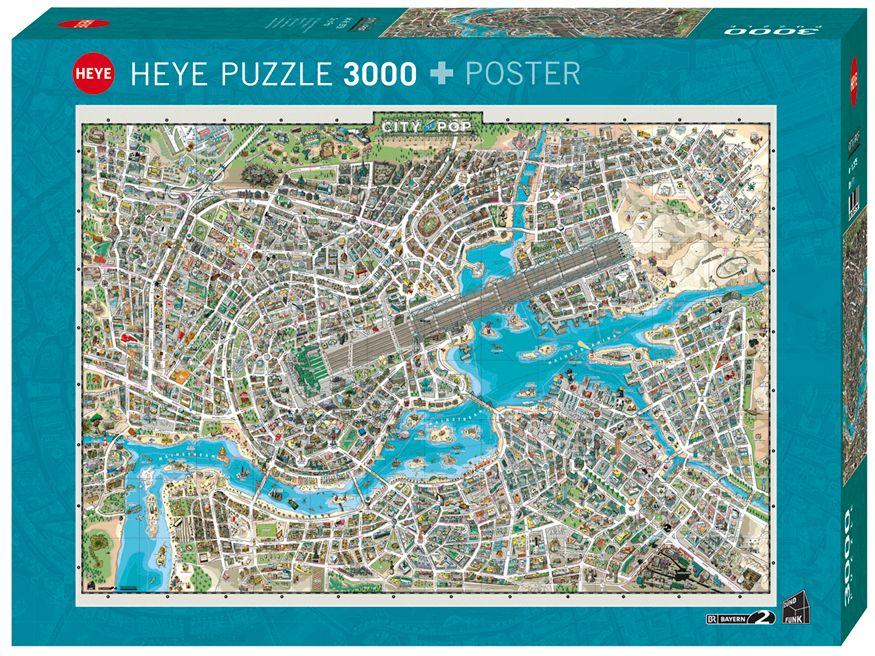 Пъзел Heye от 3000 части - Градът на поп музиката - 1