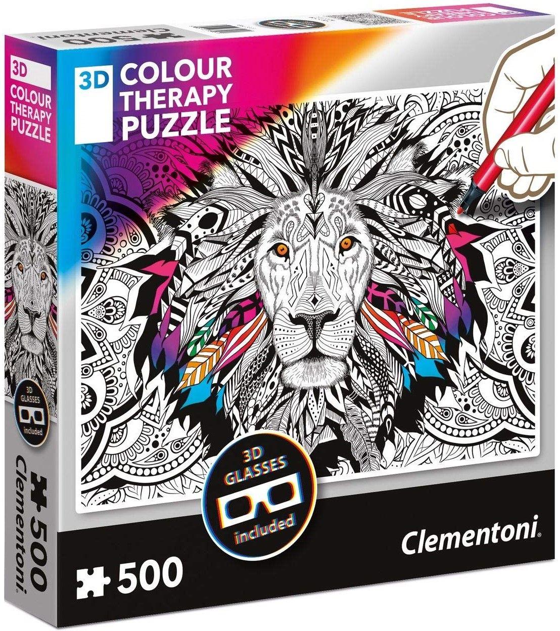 Пъзел за оцветяване Clementoni от 500 части - Лъв, с 3D очила - 1