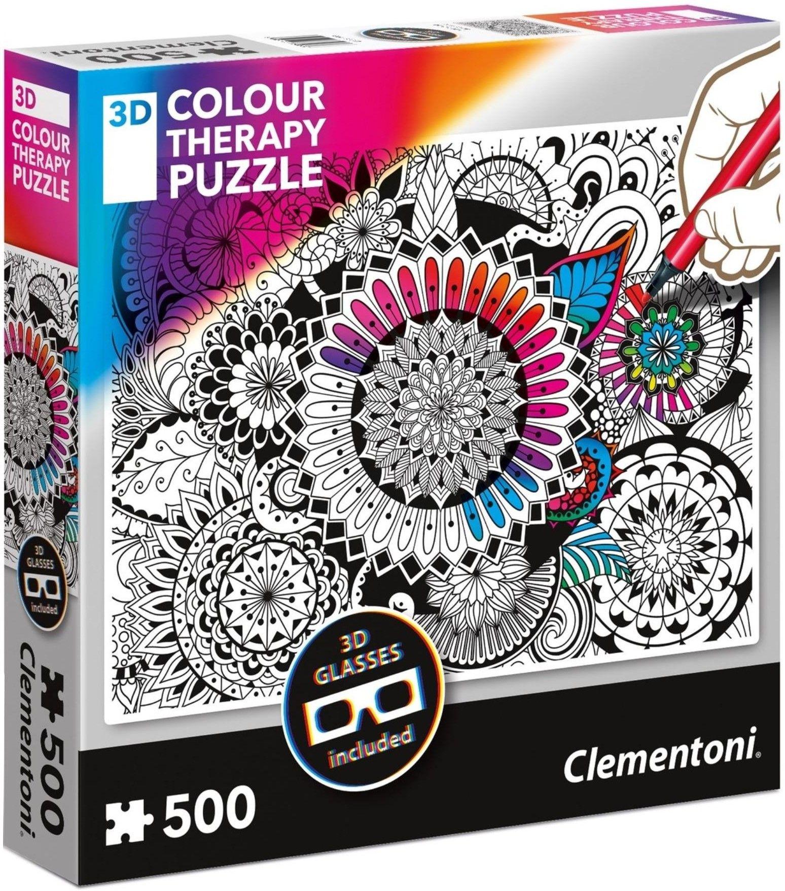 Пъзел за оцветяване Clementoni от 500 части - Мандала, с 3D очила - 1