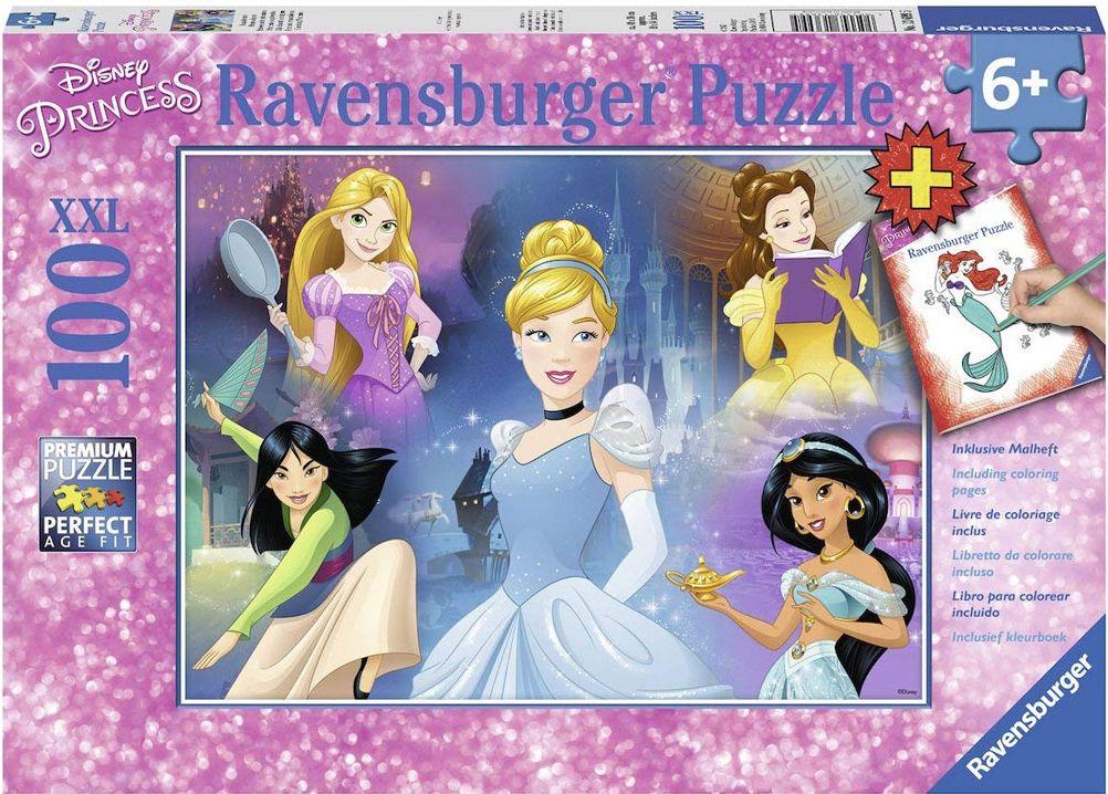 Пъзел Ravensburger от 100 XXL части - Очарователни принцеси, с книжка за оцветяване - 1