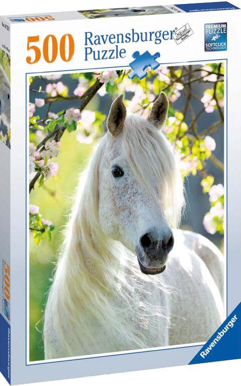Пъзел Ravensburger от 500 части - Бял кон през пролетта - 1