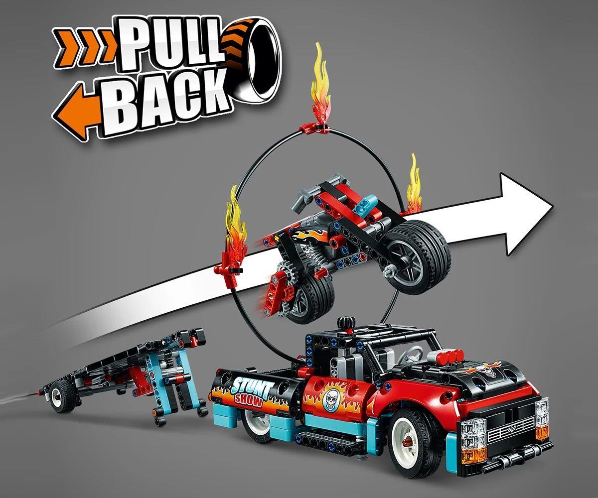 Конструктор Lego Technic - Камион и мотоциклет за каскади (42106) - 9