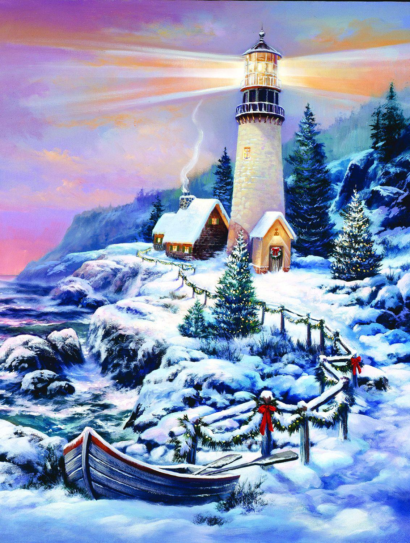 Пъзел SunsOut от 1000 части - Коледен фар, Сандра Бергерон - 1
