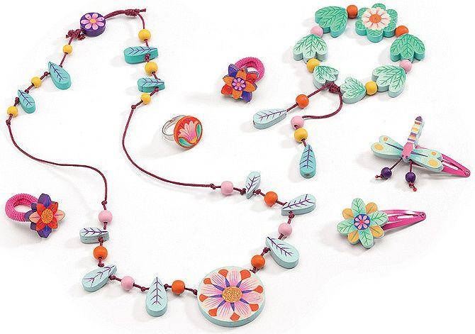Комплект дървени бижута Djeco - Райски цветя - 1