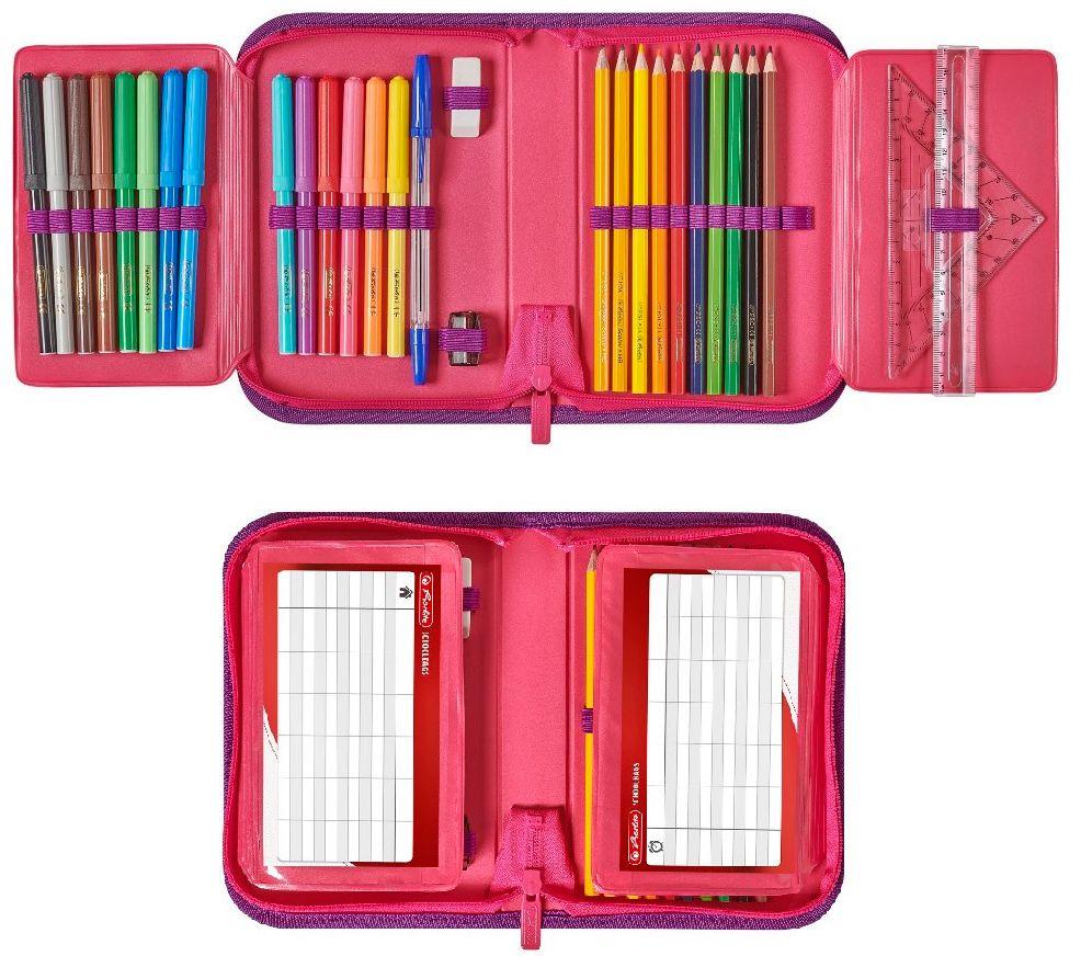 Несесер с две крила Herlitz - Pink Cubes, 31 части - 2