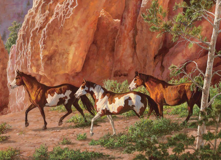 Пъзел Cobble Hill от 1000 части - Каньона на конете, Крис Къминг - 2