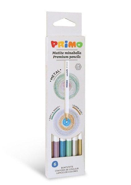 Комплект цветни моливи Primo Minabella Metal - Шестоъгълни, 6 цвята - 1