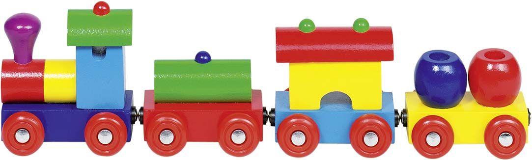 Дървена играчка Goki - Влакче с магнитно свързване, Перу - 1