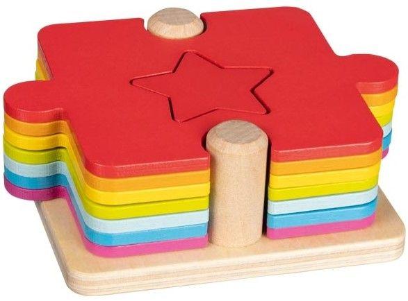 Дървен комплект 2 в 1 Goki - Игра и пъзел - 1