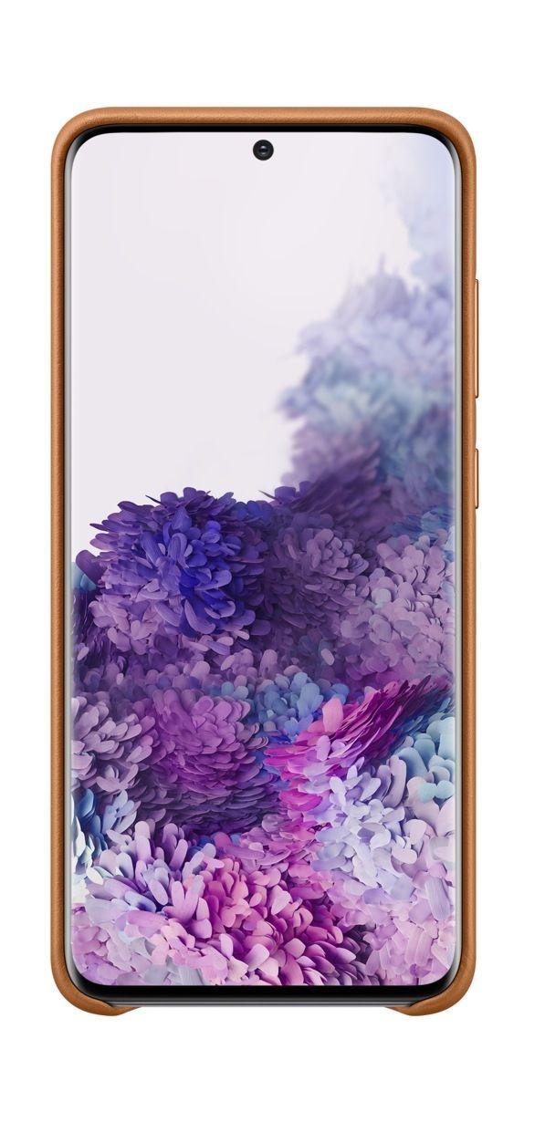 Кожен калъф Samsung - Leather, за Galaxy S20, кафяв - 4
