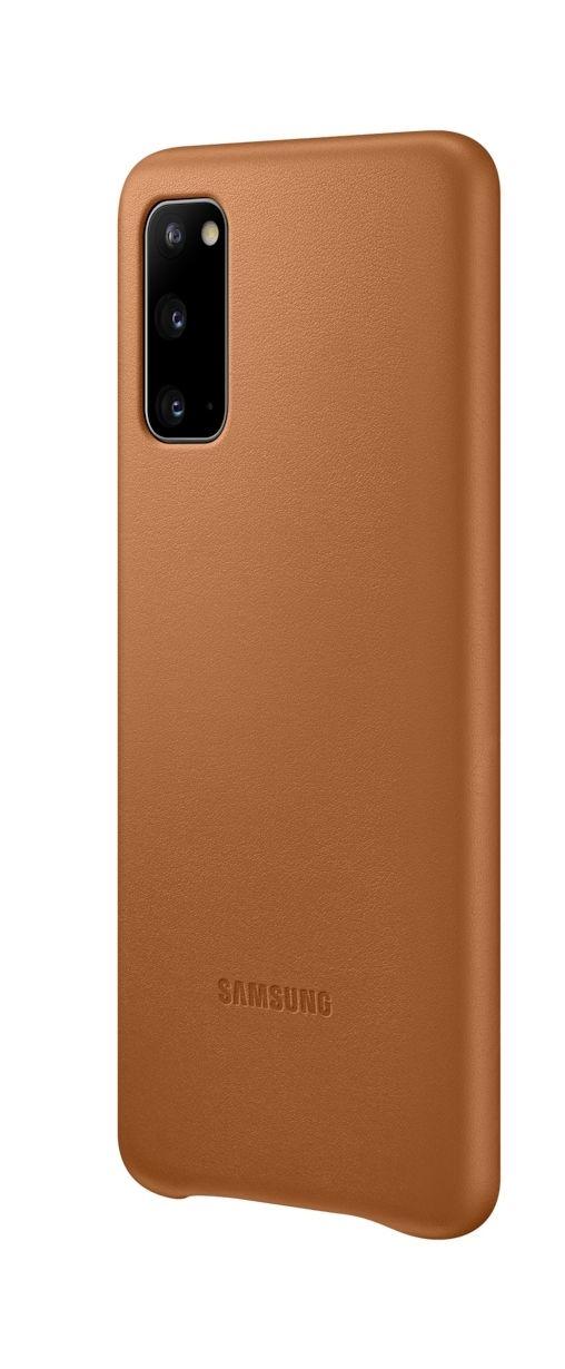 Кожен калъф Samsung - Leather, за Galaxy S20, кафяв - 2