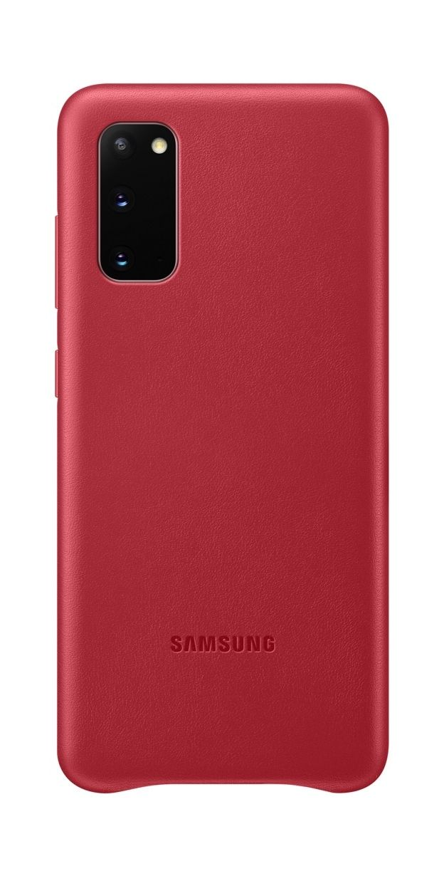 Кожен калъф Samsung - Leather, за Galaxy S20, червен - 1