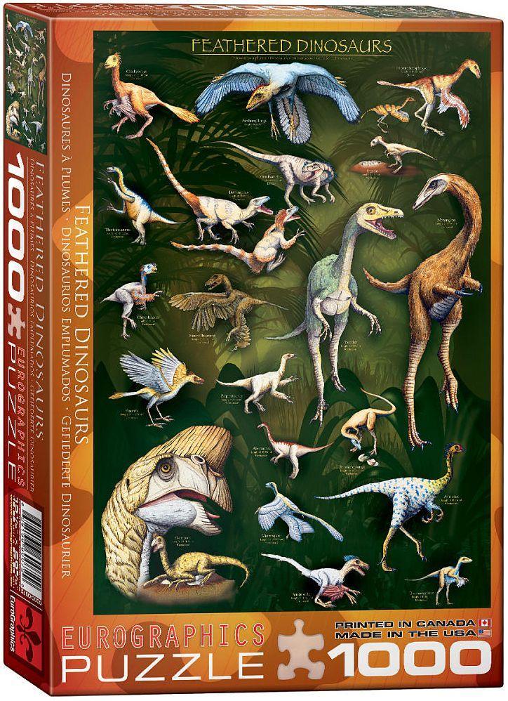 Пъзел Eurographics от 1000 части – Пернати динозаври - 1