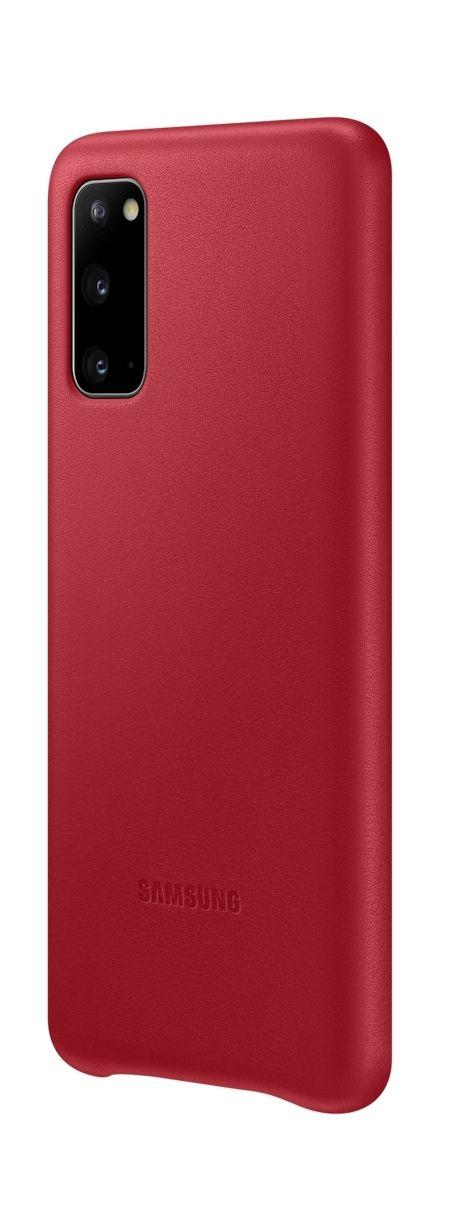 Кожен калъф Samsung - Leather, за Galaxy S20, червен - 2