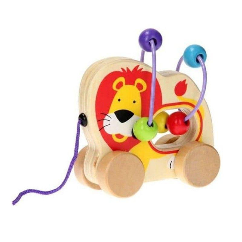 Дървена играчка за дърпане Jouéco - Лъвче, със спирала - 1