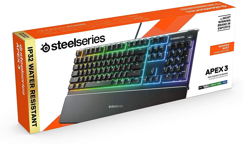 Гейминг клавиатура SteelSeries - Apex 3, черна - 4