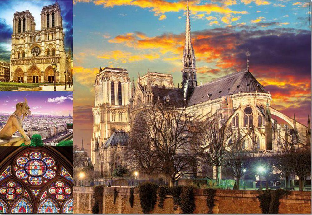 Пъзел Educa от 1000 части - Катедралата Нотр Дам в Париж, колаж - 2