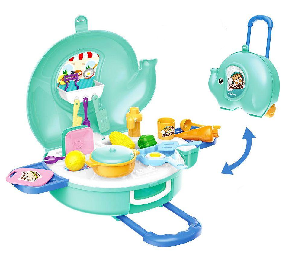 Игрален комплект Bowa - Кухня в куфарче-слонче, 27 части - 2