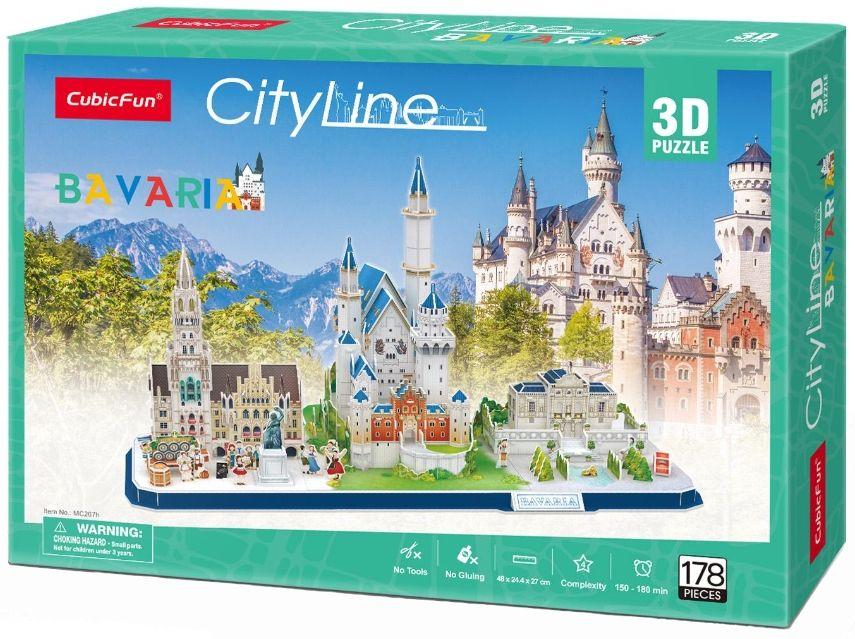 3D Пъзел Cubic Fun от 178 части - City Line Bavaria - 2