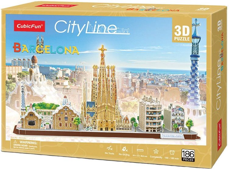 3D Пъзел Cubic Fun от 186 части - City Line Barcelona - 2