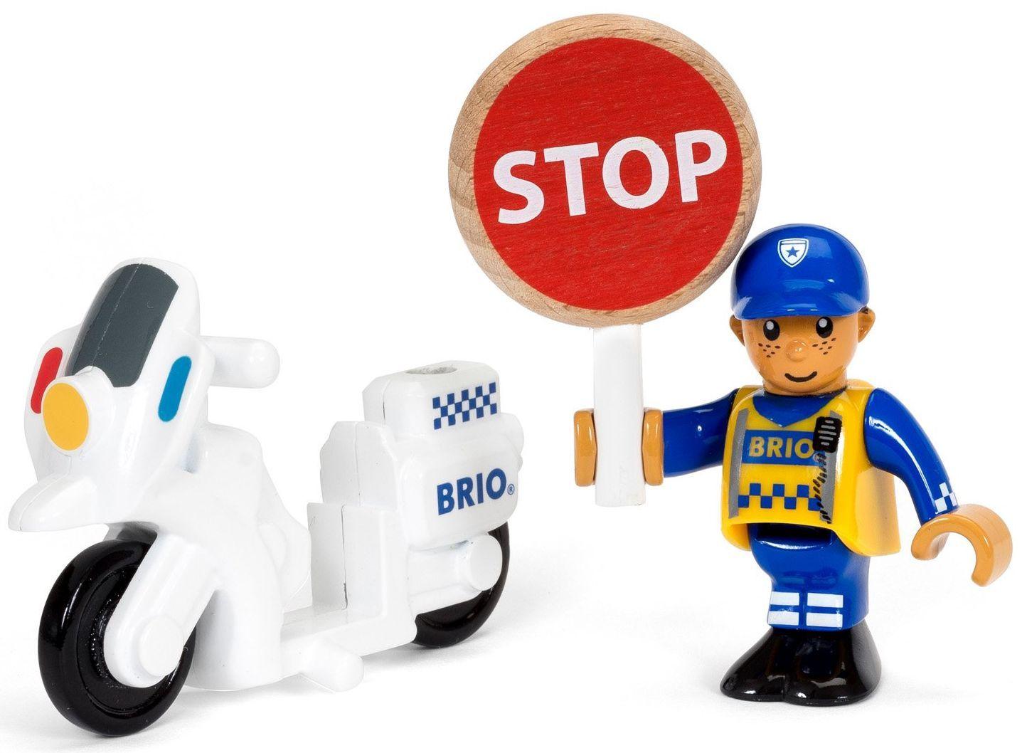 Играчка от дърво Brio World - Полицай с мотор - 1