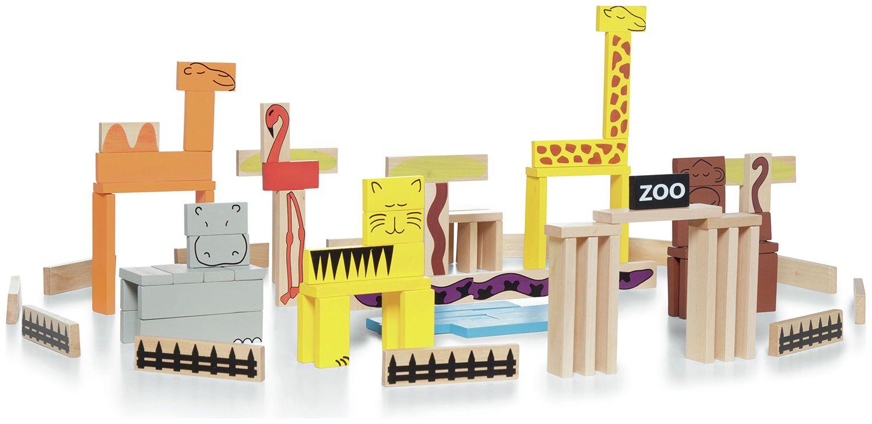 Дървени блокчета BS Toys - Зоопарк, 94 части - 2