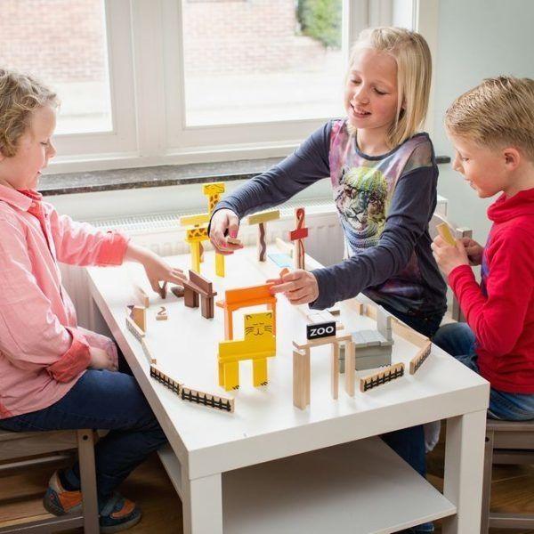Дървени блокчета BS Toys - Зоопарк, 94 части - 3