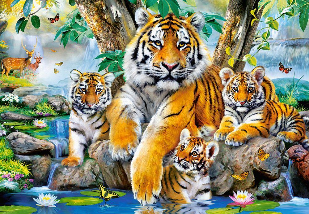 Пъзел Castorland от 1000 части - Тигри до водопада - 2