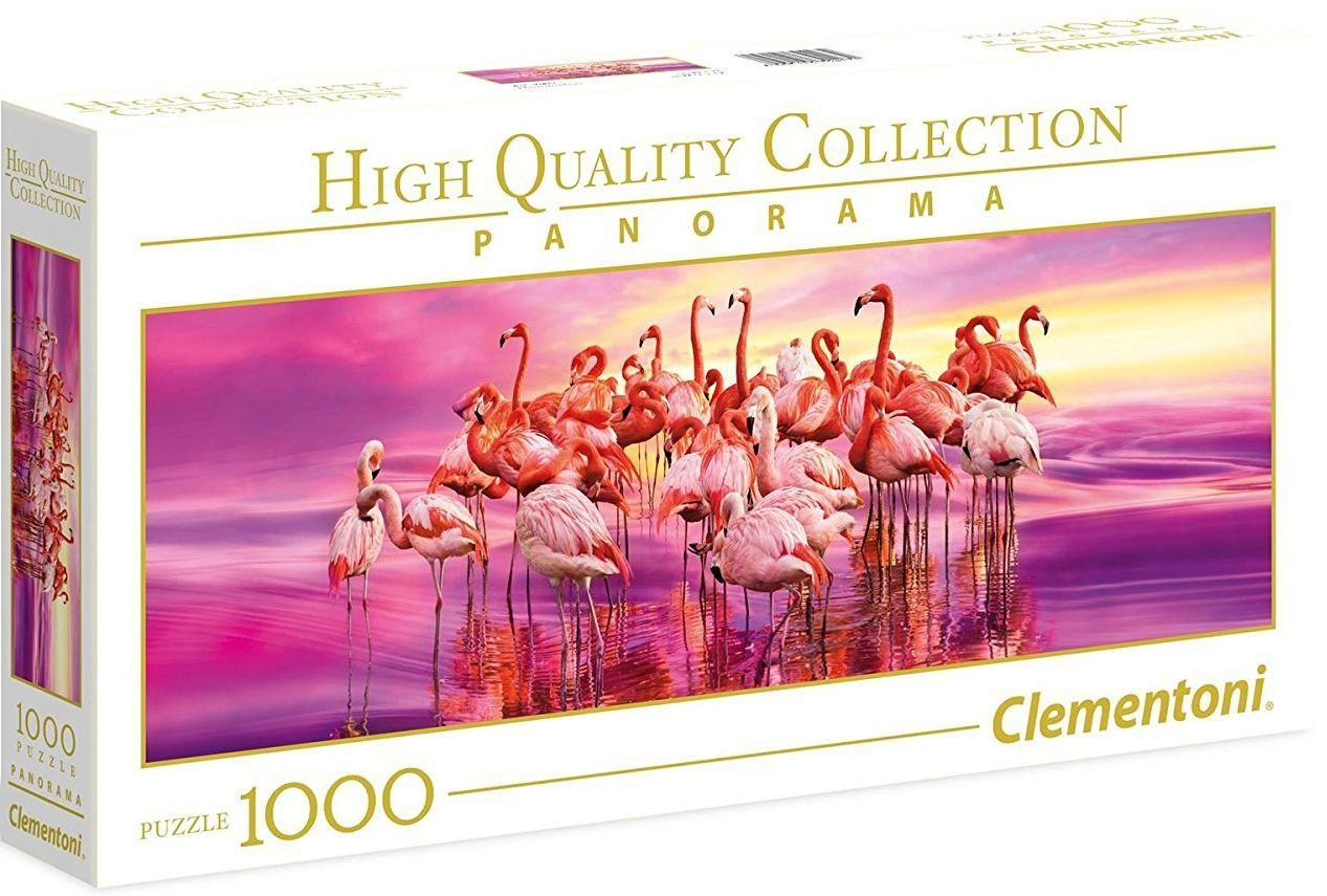Панорамен пъзел Clementoni от 1000 части - Танцът на розовите фламинга - 1