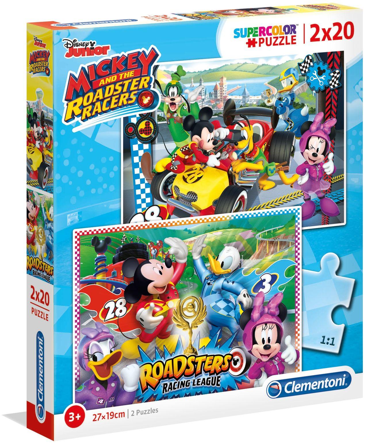 Пъзел Clementoni от 2 x 20 части - Мики и приятели състезатели - 1