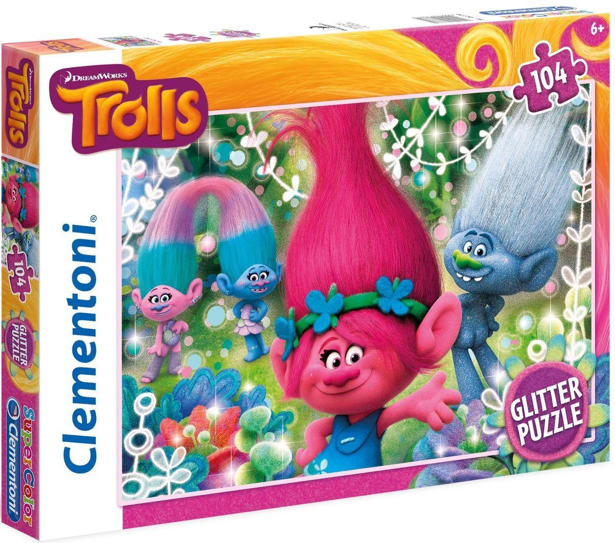 Блестящ пъзел Clementoni от 104 части - Тролчетата - 1