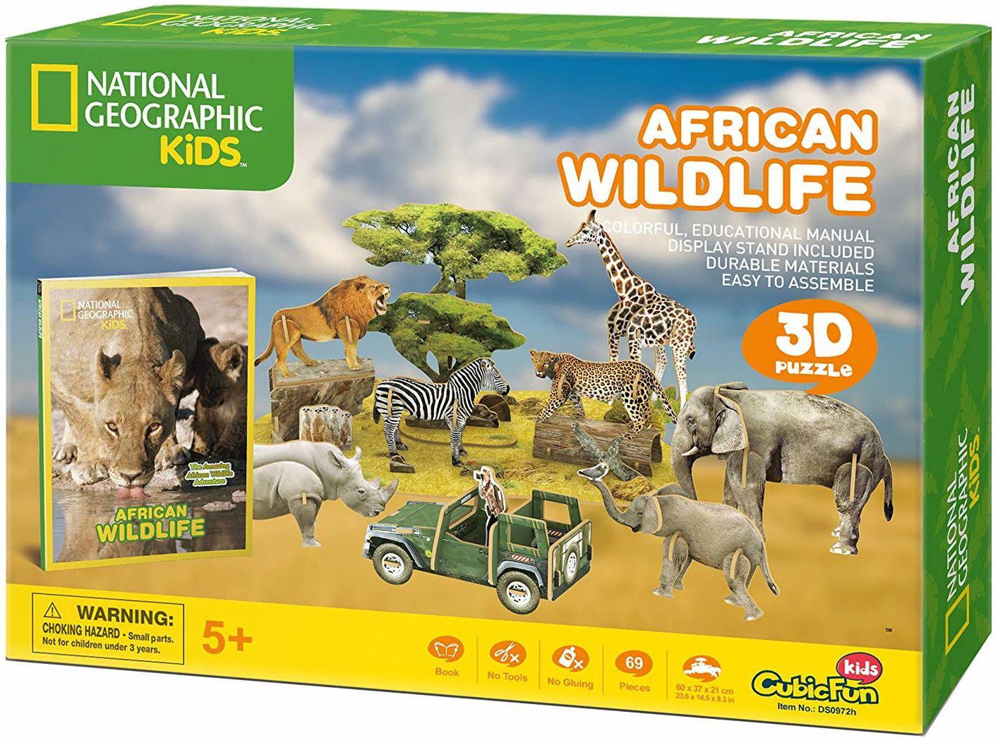 3D Пъзел Cubic Fun от 69 части - Дивият свят на Африка - 3