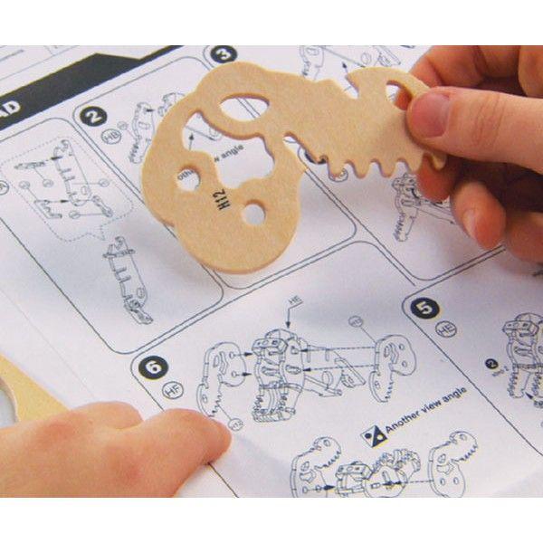 Дървен 3D пъзел Robo Time от 82 части – Трицератопс - 2