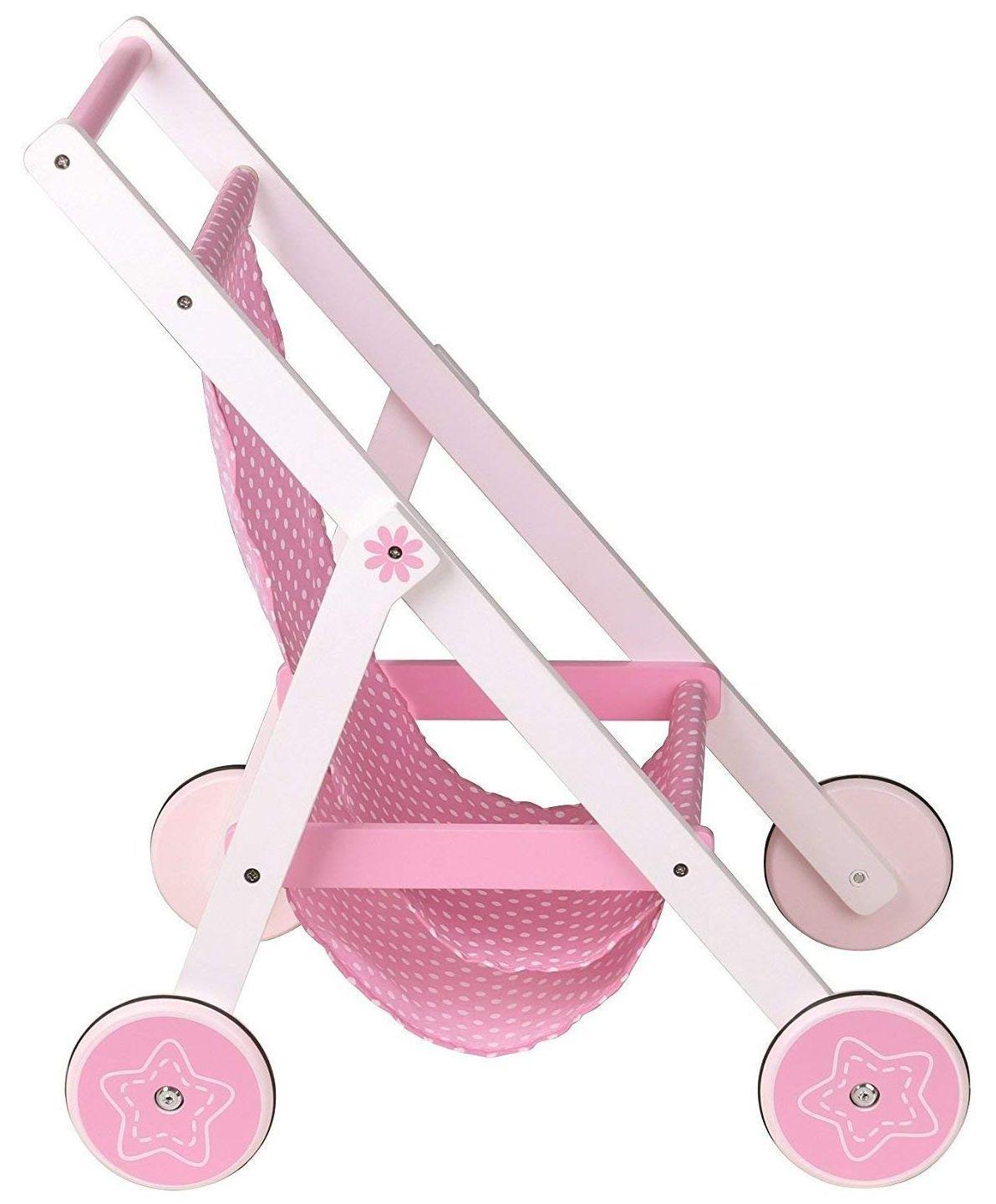 Количка за кукли Lelin - Розова, лятна - 1