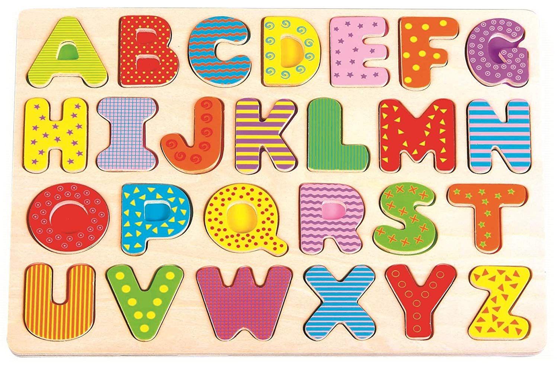 Дървен пъзел Lelin - Английската азбука, главни букви - 1