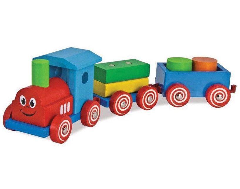 Дървена играчка Eichhorn - Влакче с очички - 1