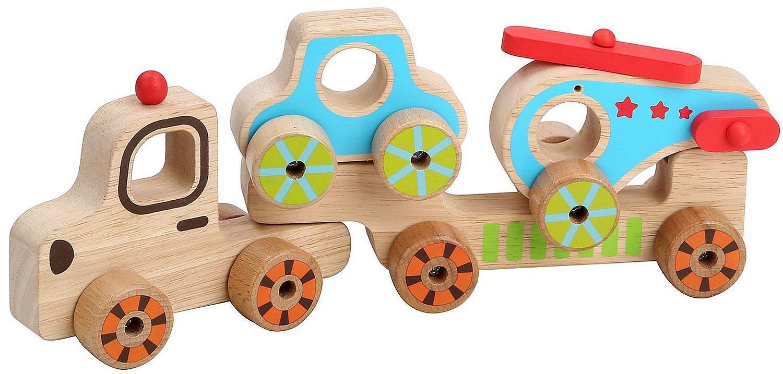 Дървен автовоз Lucy&Leo - С количка и хеликоптер - 1