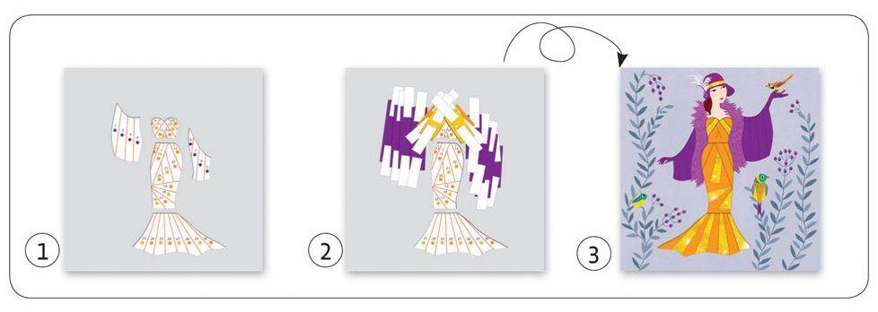Детски комплект Направи сам от хартия Djeco – Разноцветни рокли - 5