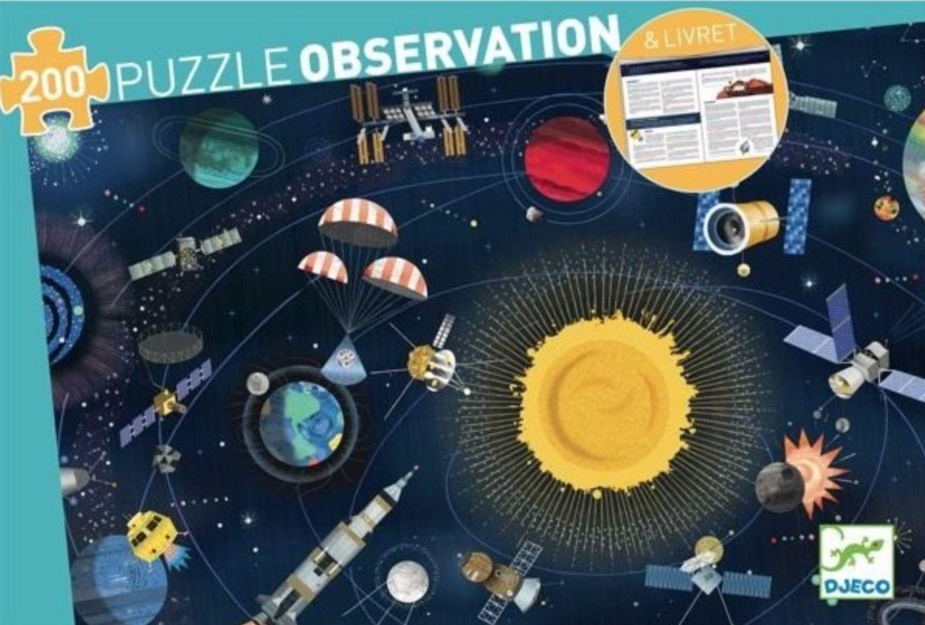 Пъзел за наблюдателност Djeco от 200 части - Космос, с книжка - 1