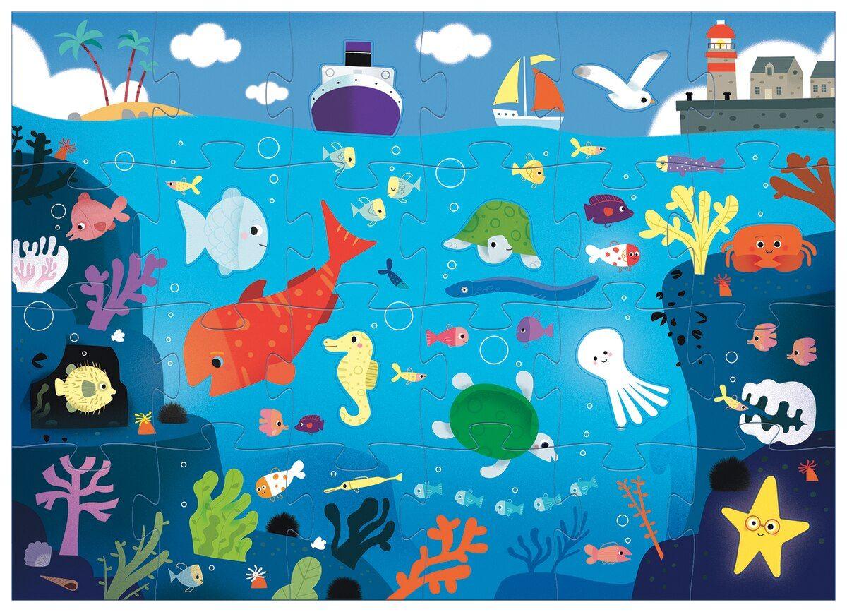 Пъзел гигант Djeco от 24 части - Под водата, с 8 животинки - 2