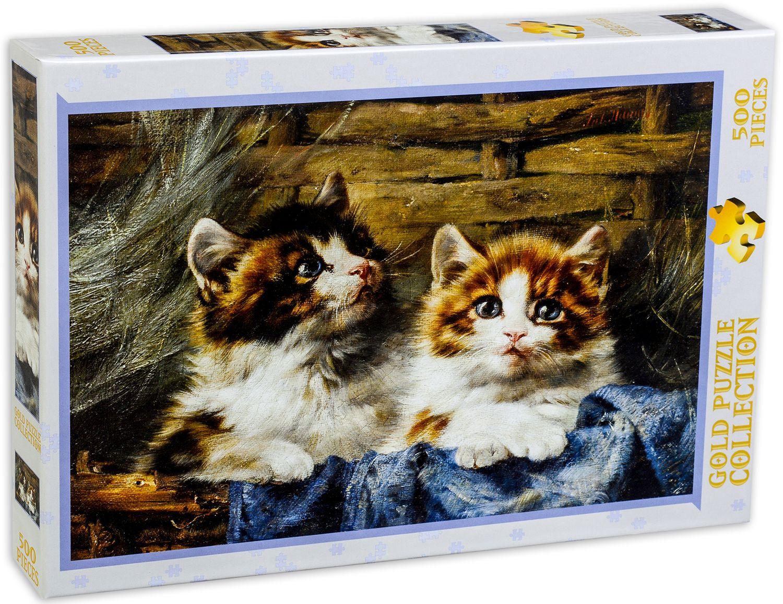 Пъзел Gold Puzzle от 500 части - Две котета в кошница - 2