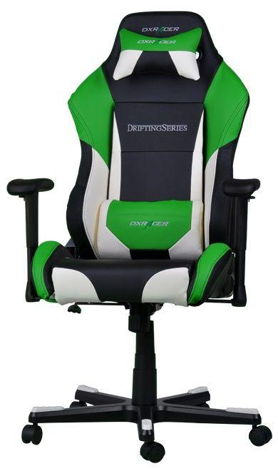 Геймърски стол DXRacer Drifting - черен/зелен/бял OH/DF61/NWE - 1